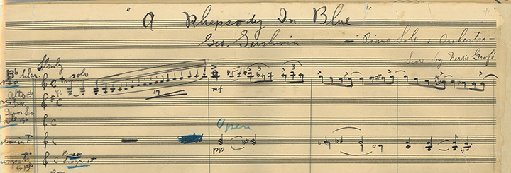 Gershwin's autograph score to Rhapsody in Blue showing the iconic clarinet opening.