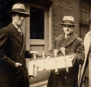 Composer George Gershwin and Cincinnati Symphony Orchestra percussionist James Rosenberg holding four taxi horns used in the orchestra's performance of An American in Paris. Photo courtesy of Ira and Leonore Gershwin Trusts.
