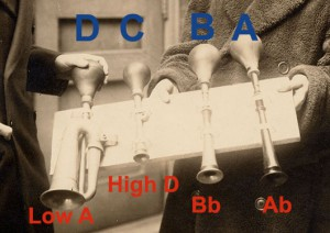 Gershwin taxi horns showing label and pitch as identified by editor Mark Clague as consistent with the 1929 recording and the new critical edition.