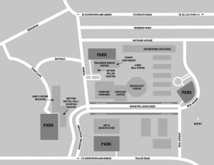 Map of U-M North Campus with venues and parking highlighted