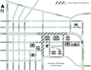 Map of U-M Central Campus with venues, parking, and streets subject to congestion highlighted
