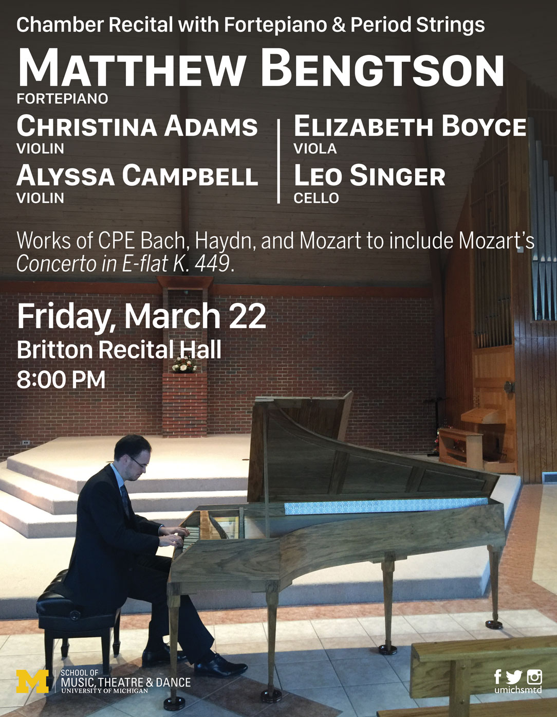 Faculty Recital: Matthew Bengtson, fortepiano, with period strings