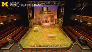 Zoom background, set for All My Sons in Arthur Miller Theatre.