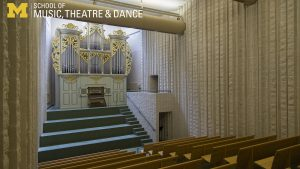 Zoom background, Blanche Anderson Moore Organ Hall view of seats and Marilyn Mason Organ