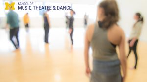 Zoom background, out of focus photo of dance class