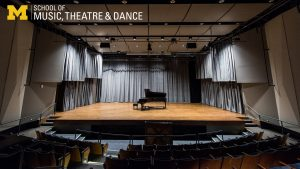 Zoom background, McIntosh Theatre stage with grand piano at center