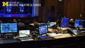 Zoom background - Mendelssohn Theatre, technical table with computers