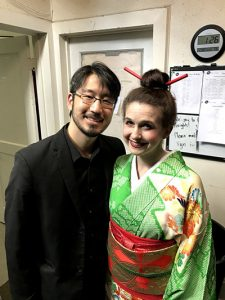 Eiki and Monica Isomura backstage at Opera in the Heights' original co-production with Pacific Opera Project of a bilingual (Japanese-English) adaptation of Madama Butterfly