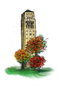 Burton Bell Tower drawn in ink and watercolor by alumna Meghann Powell