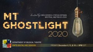 Musical Theatre Ghostlight graphic - words spelled out in lightbulbs