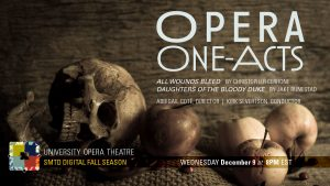 Opera One-Acts publicity image featuring a set of human skulls