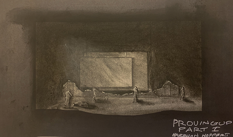 pen and ink drawing of Proving Up set by Harrison Hoffert