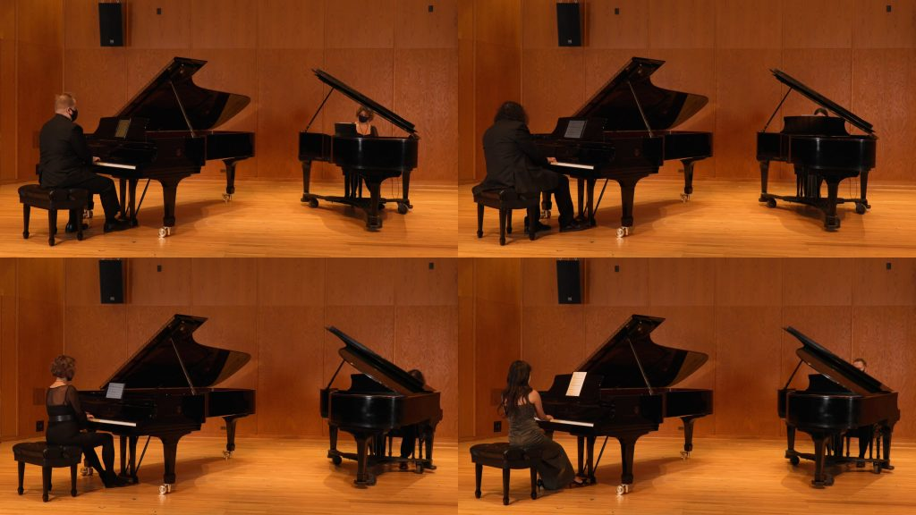 Compound image showing two open grand pianos in Britton Recital Hall at a time with a different configuration of performers in each version.