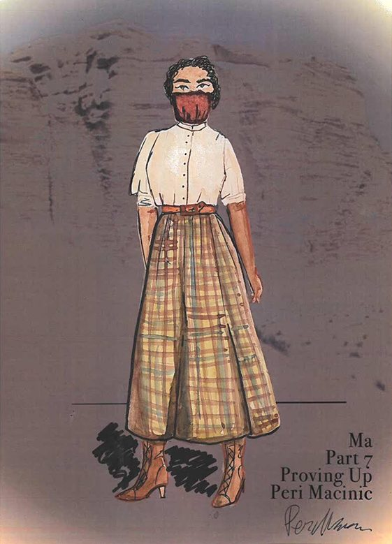 Costume design sketch by Peri Macinic for Proving Up