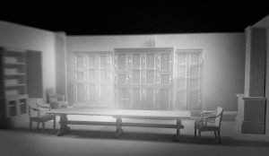 Scenic design for Miss Julie featuring a large dining table with one chair at each end
