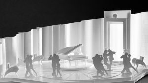 Scenery design model of stage with grand piano and couples dancing