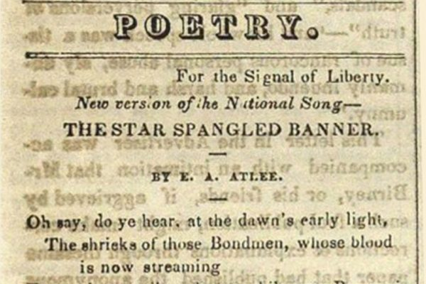 Photo of newspaper discussing Star Spangled Banner
