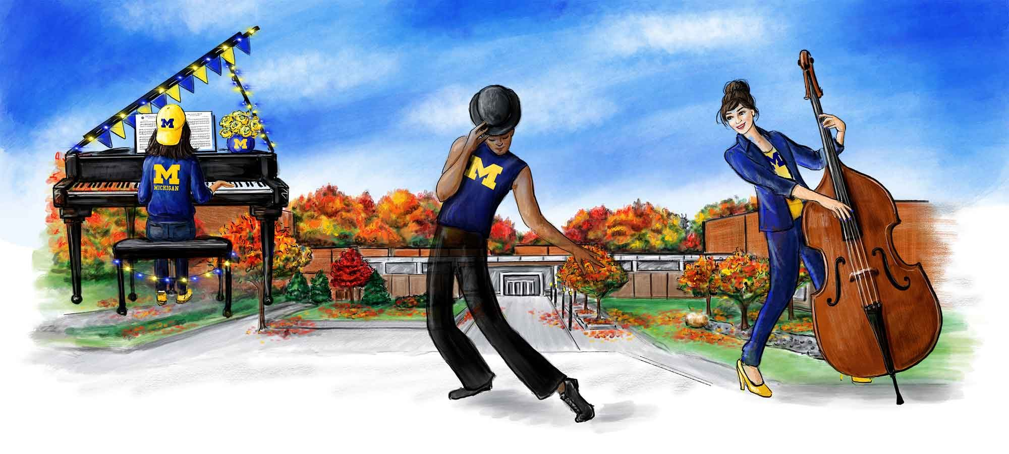 Meghann Powell illustration of Moore Building, with pianist, dancer and bass player wearing University of Michigan logo clothing