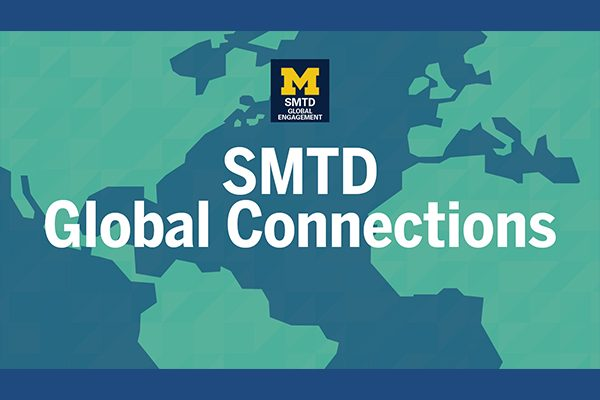 Text S M T D Global connections over a stylized world map in light green (land) and slate blue (water).