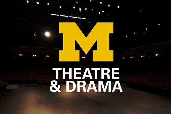 Large yellow block M with theatre and drama written below with a background image of the empty Arthur Miller Theatre view from the stage.